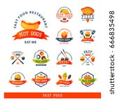 colorful cartoon fast food... | Shutterstock .eps vector #666835498