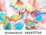 bunch of colorful hands of... | Shutterstock . vector #666835768