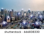 wifi icon and osaka city with... | Shutterstock . vector #666838330