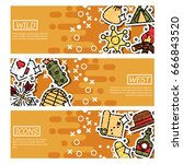 set of horizontal banners about ... | Shutterstock .eps vector #666843520