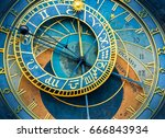 the old astronomical clock is... | Shutterstock . vector #666843934