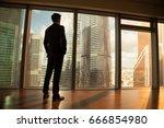 thoughtful contemplative... | Shutterstock . vector #666854980