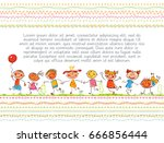 cute kids. children book cover. ... | Shutterstock .eps vector #666856444