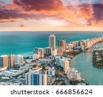 helicopter view of south beach  ... | Shutterstock . vector #666856624
