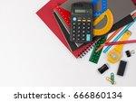 school supplies used in math... | Shutterstock . vector #666860134