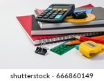school supplies used in math... | Shutterstock . vector #666860149