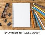 school and  supplies over... | Shutterstock . vector #666860494