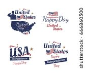 set of elements for july 4th... | Shutterstock .eps vector #666860500