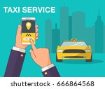 phone with interface taxi on a... | Shutterstock .eps vector #666864568