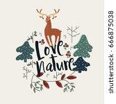 """love nature"" composition | Shutterstock .eps vector #666875038"