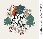 """love nature"" composition | Shutterstock .eps vector #666875050"