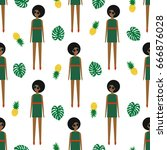 african american girl with... | Shutterstock .eps vector #666876028