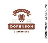 farmers market logo template... | Shutterstock .eps vector #666878290