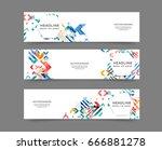 set of web banner templates for ... | Shutterstock .eps vector #666881278
