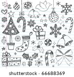 hand drawn christmas sketchy... | Shutterstock .eps vector #66688369