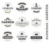 Stock vector farmers market logos templates vector objects set logotypes or badges design trendy retro style 666885406