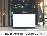 laptop showing blank screen in... | Shutterstock . vector #666892090