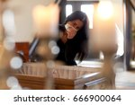 people and mourning concept  ...   Shutterstock . vector #666900064
