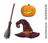 hand drawn halloween symbols  ... | Shutterstock .eps vector #666906658