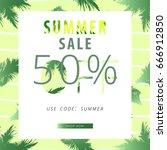summer sale banner. tropical... | Shutterstock .eps vector #666912850