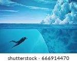 Diver Swimming Near An Iceberg...