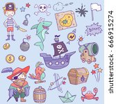 vector cute pirate objects set... | Shutterstock .eps vector #666915274