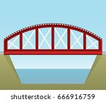 red train bridge in side view... | Shutterstock .eps vector #666916759