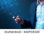 businessman sending bulk... | Shutterstock . vector #666918160