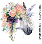 Stock photo watercolor unicorn illustration white horse in flower wreath 666919588