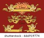 ribbon banner set.vector... | Shutterstock .eps vector #666919774