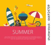 summer holidays flat design.... | Shutterstock .eps vector #666924709