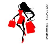 silhouette woman with shopping... | Shutterstock .eps vector #666928120