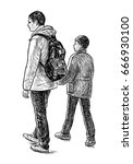 sketch of a father with his son | Shutterstock . vector #666930100