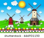 rural farm landscape with wind...   Shutterstock .eps vector #666931150