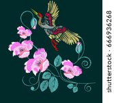embroidery of a crane and pink... | Shutterstock .eps vector #666936268