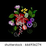 embroidery roses  fuchsias... | Shutterstock .eps vector #666936274