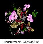 embroidery pink roses  flowers... | Shutterstock .eps vector #666936340