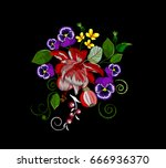 embroidery bouquet of fuchsias  ... | Shutterstock .eps vector #666936370
