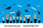 hands of graduates throwing... | Shutterstock . vector #666938239