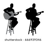 guitar player sitting on a bar...   Shutterstock .eps vector #666939346