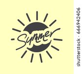 summer hand drawn logo with... | Shutterstock .eps vector #666942406