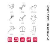 scissors  hammer and gloves... | Shutterstock .eps vector #666943504