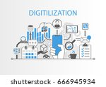 digitilization concept as... | Shutterstock .eps vector #666945934