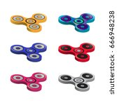 set of color finger spinners... | Shutterstock .eps vector #666948238