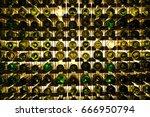 many glass wine bottles on wine ... | Shutterstock . vector #666950794