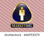 gold badge or emblem with... | Shutterstock .eps vector #666953374