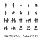family silhouettes icons set | Shutterstock .eps vector #666954514