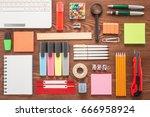 school office supplies on a... | Shutterstock . vector #666958924