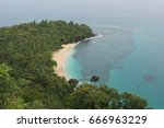 banana beach on principe island ... | Shutterstock . vector #666963229