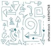 abstract vector arrow. hand... | Shutterstock .eps vector #666964768